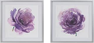 MADISON PARK SIGNATURE Transitional Décor 25 X 25 inch 2 Piece Multi Panel Set Purple Ladies Rose Floral Framed Canvas Wall Art