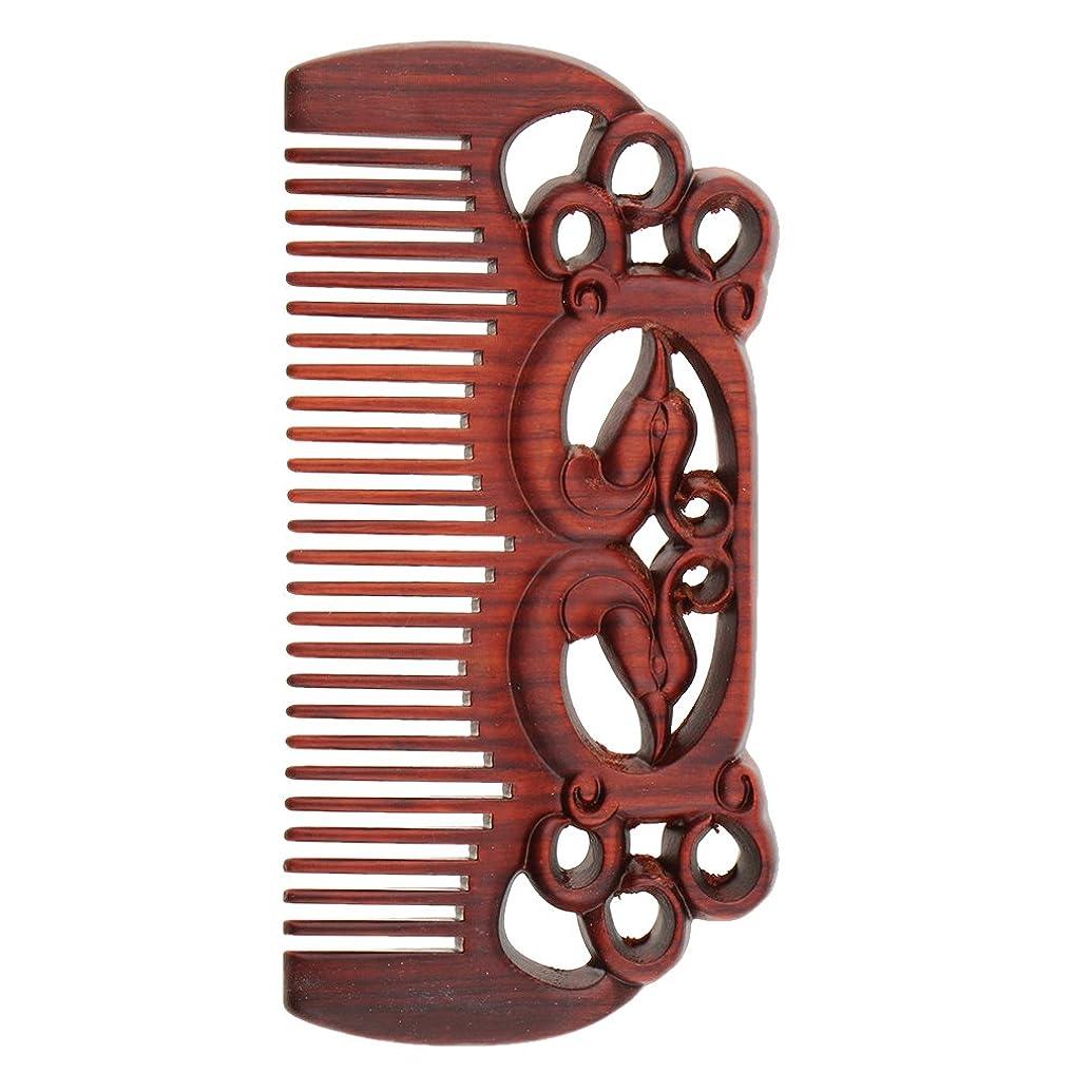 穏やかな背骨ストライプPerfeclan ウッドコーム 天然木製 高品質 木製櫛 ワイド歯 ヘアブラシ ヘアスタイリング ヘアコーム 2タイプ選べる - #1