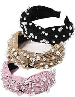 pearl Headband for Women Faux pearl Fashion Hair Accessaries Thin Cross Knot Pearl Hair Hoop for Wedding Party (B-3PCS)