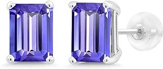 3.80 Ct Emerald Cut 8x6mm Blue Tanzanite 14K White Gold Stud Earrings