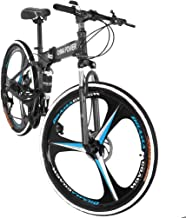 Outroad Mountain Bike 21 Speed 6 Spoke 26 in Shining SYS Double Disc Brake Bicycle Folding Bike for Adult Teens (Ship from US) (Black)