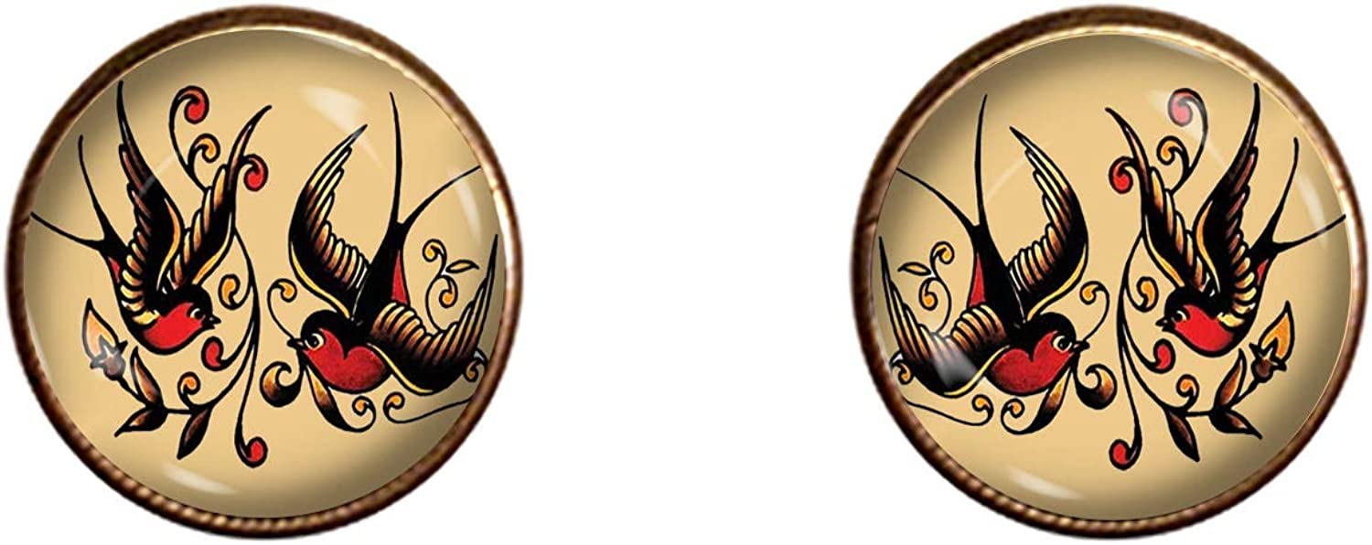 Sailor Jerry Cuff Links Handmade Gift Sparrows Jewelry Pendant Charm Gifts