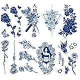 Semi Permanent Rose Temporary Tattoos, 8-Sheet 2 Weeks Long Last Waterproof Folwer Tattoos, 100% Plant-Based Ink Infinity Realistic Tattoos Sticker for Adult Children