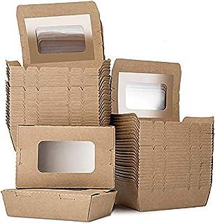 LOMOFI Caja de Papel para almacenar Comida para Llevar 17oz Contenedores Reutilizable de Papel Kraft para Llevar Caja de E...