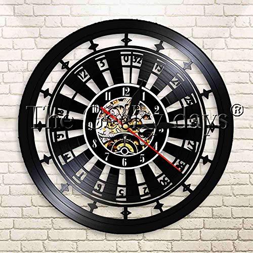 1 Pieza Casino Gamble Room Sign Ruleta Mesa de diseño Reloj de Pared Moderno Poker Juego de Ruleta Reloj de Pared con Registro de Vinilo