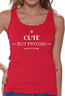 Awkwardstyles Women's Cute But Psycho Tank Top Funny Quote Tank + Bookmark