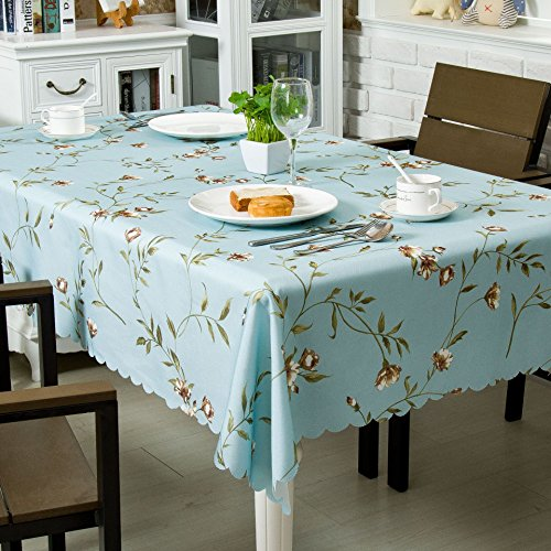 OstepDecor Floral Tablecloth 54 x 54 Inch, Square Table Cloth, Waterproof Tablecloths, Decorative Table Cover for Kitchen Dinning Room Party, Lavender Blue