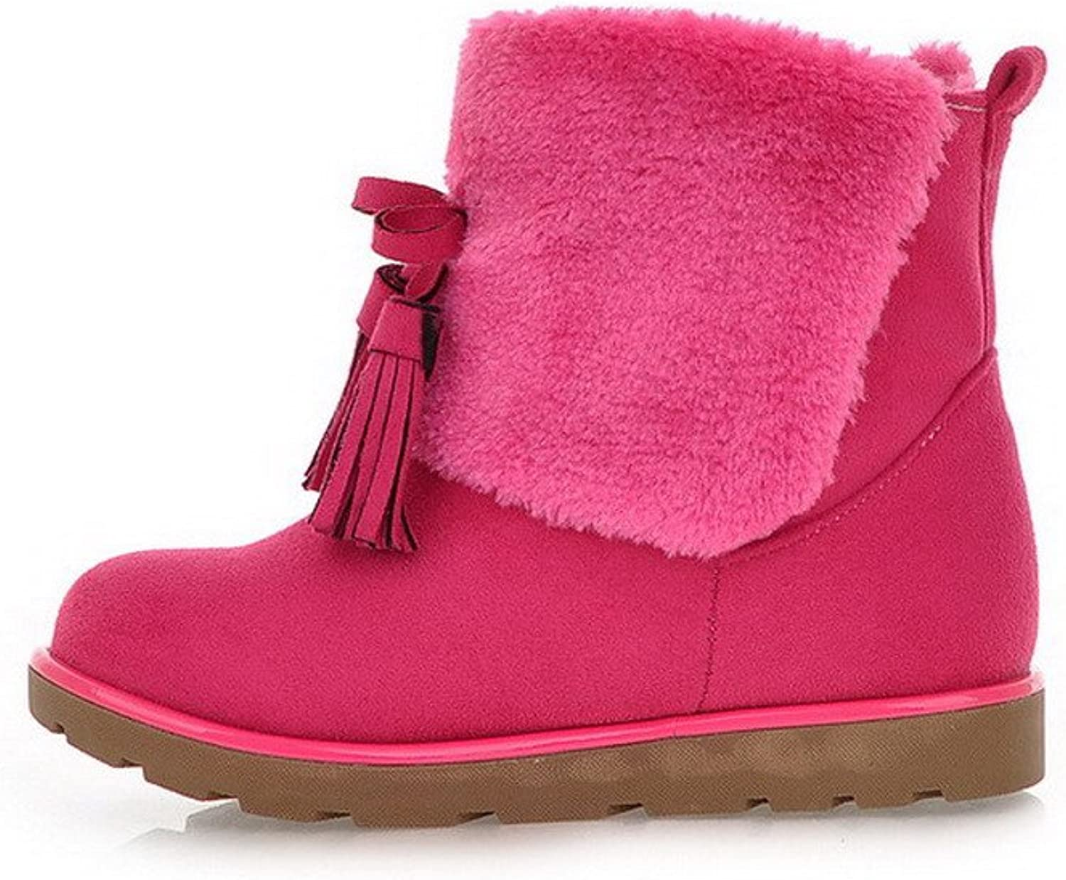 AmoonyFashion Womens Round Closed Toe Low Heels PU Frosted Short Plush Solid Boots with Tassels, Pink, 7.5 B(M) US