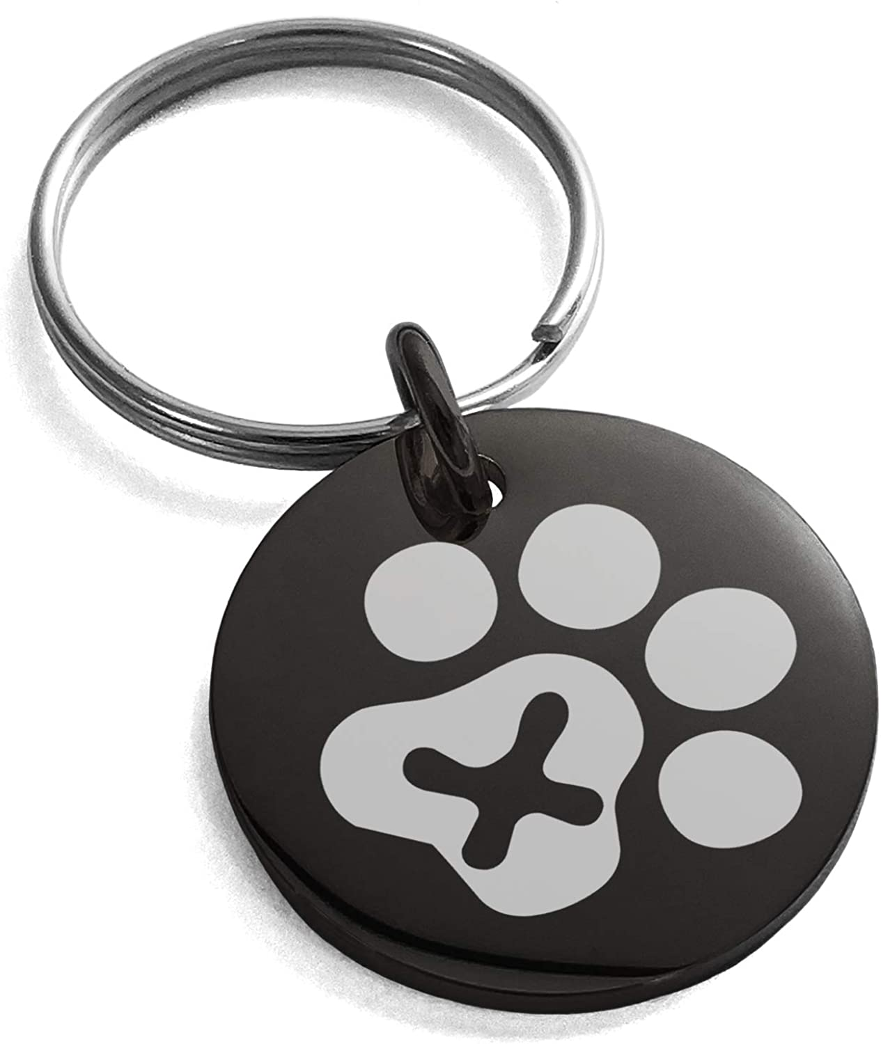 Tioneer Stainless Steel Letter X Initial Cat Dog Paws Monogram Small Medallion Circle Charm Keychain Keyring