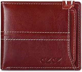 Mens Leather Bag Cowhide Lady's Purse Leather Mini - Function Short - Style Zero - Purse Card Bag Bag (Color : Red, Size : S)