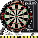 Viper League Pro Regulation Bristle Steel Tip Dartboard Starter Set with Staple-Free Bullseye, Radial Spider Wire,...