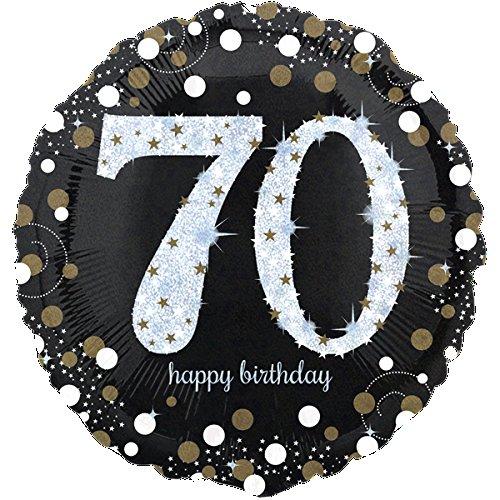 paduTec Zahlenballon Ballon Folienballon Luftballon - Glamour 70 Jahre - Happy Birthday Geburtstag Jubiläum - geeignet zur befüllung mit Luft oder Helium Gas - UNGEFÜLLT - zum selber füllen