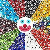 PandaHall Elite & reg Cuentas de Cristal de Murano Hechas a Mano, Planas Redondas,Ojo de Demonio, Color Mezclado, 6x3 mm, Agujero: 1 mm; Alrededor de 70 Piezas/Color, apro 700 Piezas/Caja
