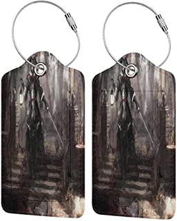 Multicolor luggage tag Fantasy World Decor Collection Masked Pirate General Walking in Dark Forest with Lantern Medieval Theme Print Hanging on the suitcase Black Brown W2.7 x L4.6