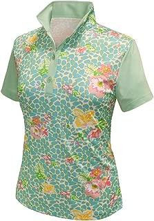 Monterey Club Ladies Dry Swing Vivid Flower Leopard Print Block Shirt #2364