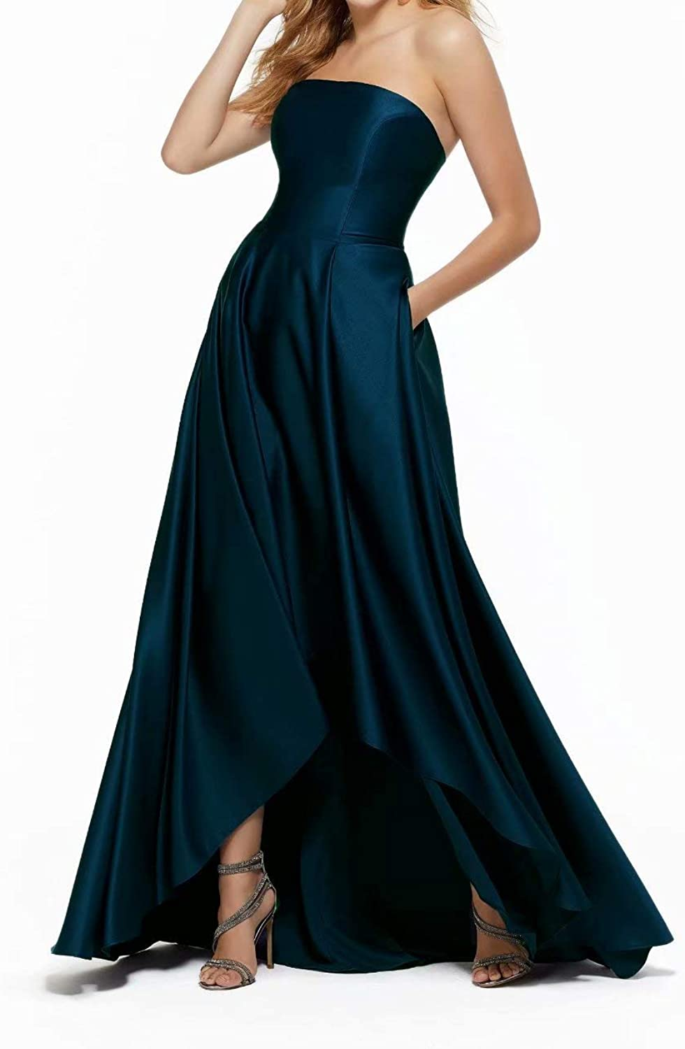 Women Strapless High Low Formal Prom Gowns Satin ALine Bridesmaid Dress with Pockets