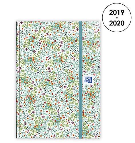 Oxford Agenda Flowers 2019 – 2020, od sierpnia do sierpnia 1 dzień na stronę, format 15 x 21, zielony