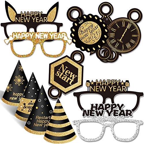 Silvester Deko 2021 -  Juego de decoración para el año nuevo,  diseño de Año Nuevo,  fiesta de Año Nuevo,  diadema,  cuerno,  sombrero,  fotos y gafas para niños y adultos,  fiesta de año nuevo