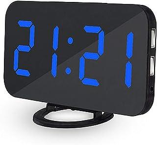 SANON LED väckarklocka digitala spegelklockor 6,5 med 3-läges dimmer och dubbla USB-portar för sovrum, kontor, barn vuxna,...