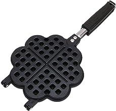 Gaufrier Mini Gaufrier machine antiadhésive Waffle cuisson Pan, poignée de bakélite et fermeture Loquet, noir (Color : Small)