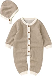 طفلة بوي ارتداءها الملابس القطن محبوك سترة رومبير بذلة ملابس قبعة مجموعة الملابس (Color : Khaki, Size : 6M)