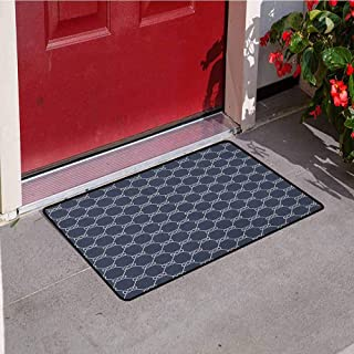 Navy Blue Commercial Grade Entrance mat Navy Inspired Sailor Knot Rope Pattern Illustration Nautical Abstract Design for entrances garages patios W23.6 x L35.4 Inch Dark Blue Cream