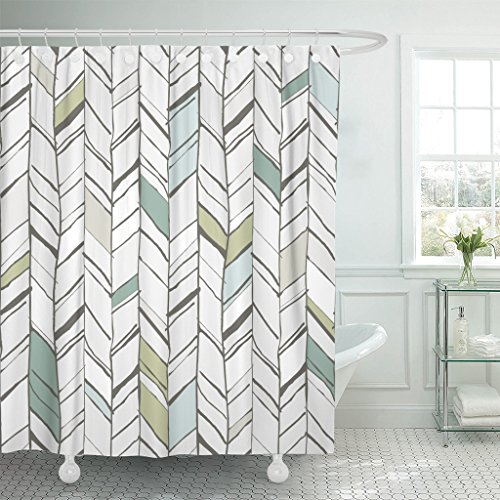 TOMPOP Shower Curtain Green Handdrawn Creative Herringbone Pattern Perfectly Composition Projects Chevron Waterproof Polyester Fabric 72 x 72 Inches Set with Hooks