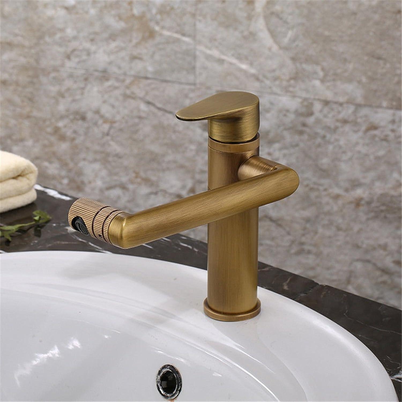 Küchenarmatur Waschtischarmatur Wasserfall Wasserhahn Waschbecken Goldkupferantiker Bassinhahn heies und kaltes Wasser, das einzelnen Lochhahn über schnell ffnendem Hahn des Gegenbassins mischt