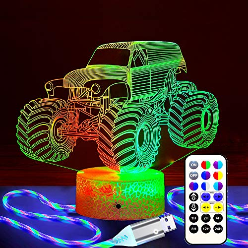 Gift Lamp Night Light for Kids, Monster Truck Kids Night Light, Bigfoot Truck Night Light with Remote & Smart Touch Timer, 7 Colors + 15 Colors Dimmable Monster Truck Night Light 1-14 Year Old Gifts