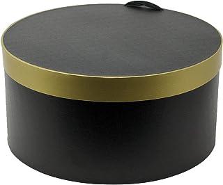 ノーブランド品 ハットボックス 33cm 丸型 黒×金
