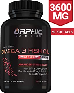 Omega 3 Fish Oil Supplements Max Potency Burpless Capsules 3600mg Fish Oil 2160mg Omega 3 1296mg EPA 864mg DHA