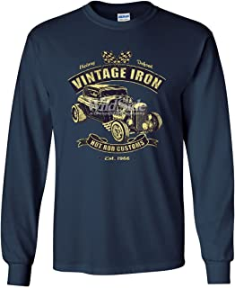 Vintage Iron Hot Rod Customs Long Sleeve T-Shirt Retro Muscle Car Route 66 Tee