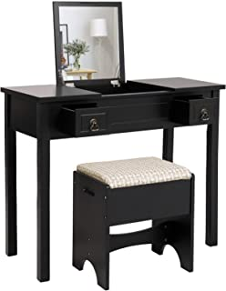 VASAGLE Vanity Set with Flip Top Mirror Makeup Dressing Table Writing Desk with 2 Drawers Cushioned Stool 3 Removable Organizers Easy Assembly, Black
