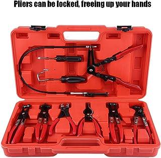 Clip Plier Set, Hose Clamp Clip Plier Set Swivel Jaw Flat Angled Band Automotive Cars Repair Tool - 9Pcs Set
