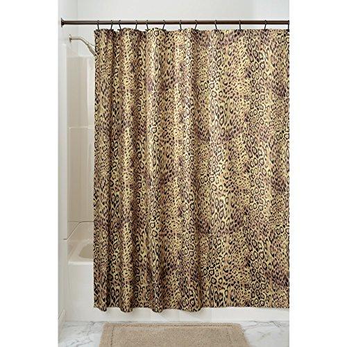 iDesign Cheetah Duschvorhang | Designer Duschvorhang mit Animal-Print| schöner Badewannenvorhang 183,0 cm x 183,0 cm im Safari-Erscheinungsbild | Polyester braun