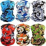 6 PCS Man/Women Outdoor Sun UV Protection Face Mask Neck Gaiter Windproof Scarf Sunscreen Breathable Bandana Balaclava (Camouflage)