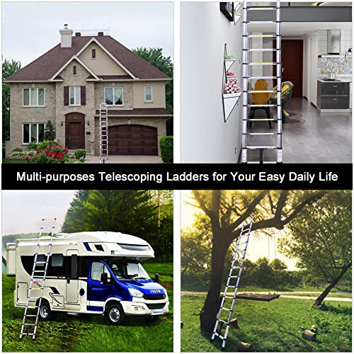 6.6FT Telescoping Ladder, Lightweight Collapsible Ladders, Aluminum Retractable Ladder, Folding Extension Ladders for RV, Loft, Attic, Home, 330LB Capacity