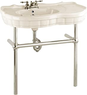 Bathroom Console Sink Grade A Vitreous China Southern Belle Sink With Satin Nickel Bistro Legs, Biscuit/Linen