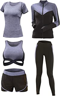 Womens Yoga Gym Suit Tights Sportswear Training Wear Running Suit Fitness Series - 5pcs Set