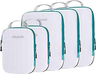 مجموعة مكعبات تعبئة مضغوطة لأمتعة حمل حقائب السفر، منظمات تعبئة السفر مع حقيبة غسيل لحقيبة الظهر