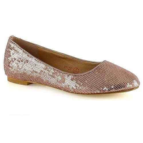 0b178ea5a3ab ESSEX GLAM Womens Slip On Shoes Sequins Ballet Ladies Flat Bridal  Bridesmaid Flower Girl Sparkly Pumps