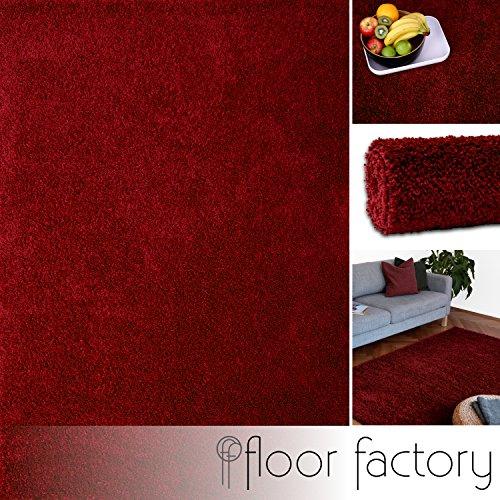 floor factory Hochflor Shaggy Teppich Colors rot/Bordeaux 120x170cm - pflegeleichter und günstiger Langflorteppich