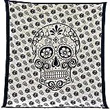 Tapiz Mandala 100% Algodón de la India con 210X240 cm Tapices Indios de Decoración Múltiples Aplicaciones: Cubrecama, Cubre sofá, Mantel, Pareo, Foulard, Picnic, Toalla Playa (Calavera, Beige/Negro)