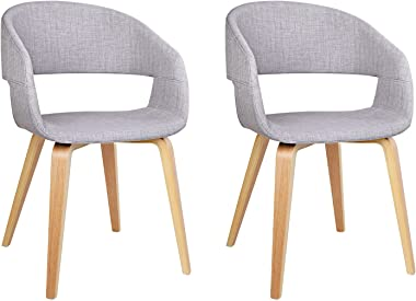 2 x Artiss Dining Chairs, Bentwood Fabric Upholstered Dining Chairs, Light Grey