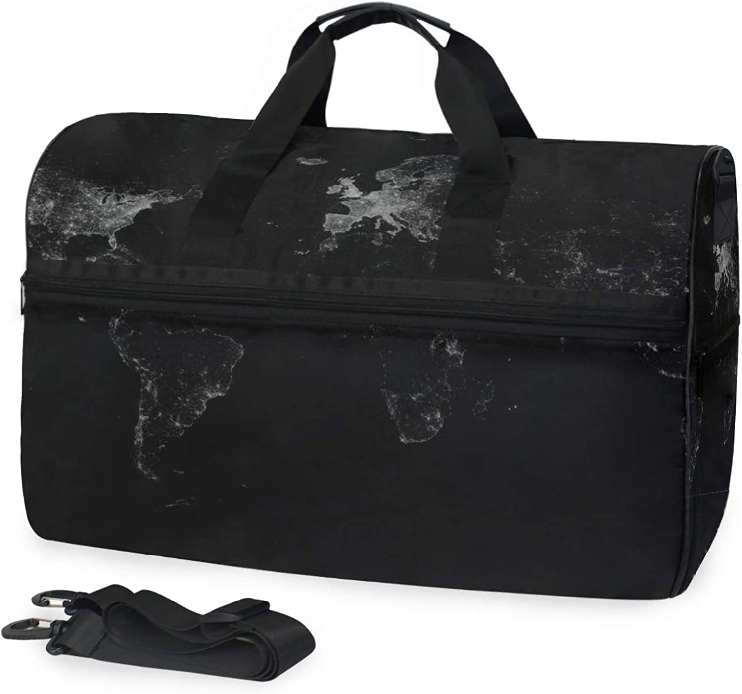 World Map Black Dark Large Travel Duffel Tote Bag Weekend Overnight Travel Bag Gym Bag Fitness Sports Bag with shoes Compartment