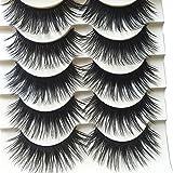 Polytree 5 Pairs Black Long Thick Eyelashes Fake Cross Makeup Eye Lash Extension