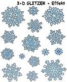 alles-meine.de GmbH 14 TLG. Set _ Fensterbilder mit Glitzer Effekt -  Schnee & Schneeflocken  - statisch haftend - selbstklebend + wiederverwendbar / Weihnachten - Sticker Fens.. -