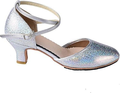 Chaussures de Danse Latine, Les Les dames Adultes, Chaussures de Danse voiturerées à Talons Hauts
