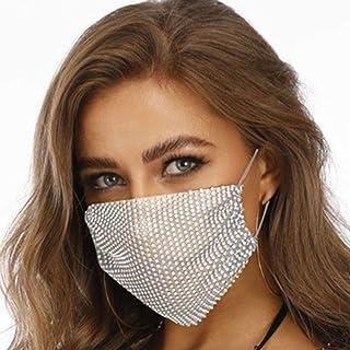 WIWN Fashionable Face Msaks Sparkly Rhinestones Mesh Madsk Crystal Masquerade Halloween Msaks Women and Girls