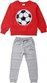 Chicos Pullover Lentejuelas Fútbol Manga Larga Camiseta Tops + Pantalones Conjunto de chándal Conjunto Jogging Sudadera Outwear Jumpers Hip Hop Streetwear